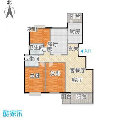 美然绿色家园147.71㎡D户型三室两厅两卫户型
