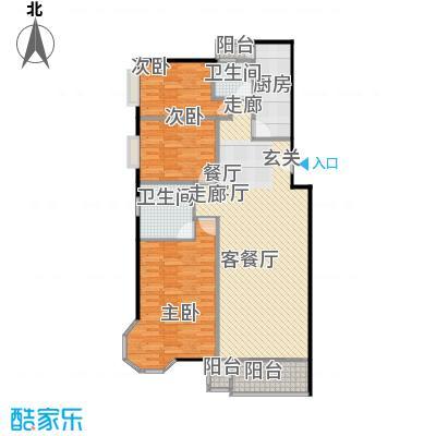 美然绿色家园130.65㎡C户型三室两厅两卫户型