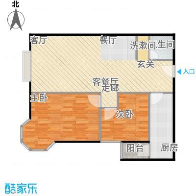 美然绿色家园87.15㎡B户型两室两厅两卫户型