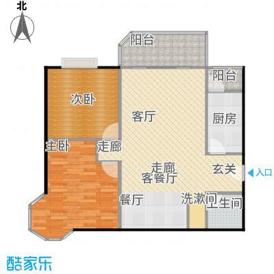 美然绿色家园98.04㎡A户型两室两厅一卫户型