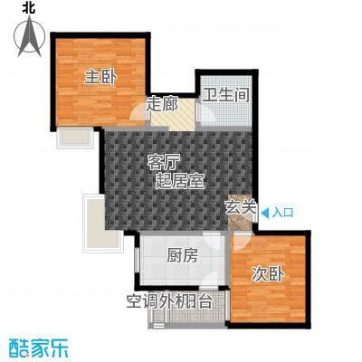 米罗公元・方丹苑Ⅱ85.00㎡两室一厅户型