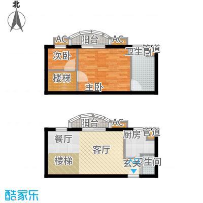 珠江绿洲74.77㎡M2户型一室两厅两卫户型