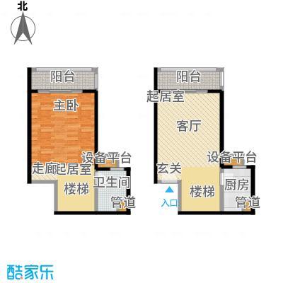 珠江绿洲78.63㎡M1户型一室两厅一卫户型