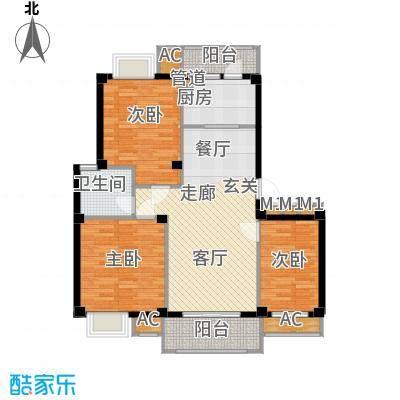 E1户型 三室两厅一卫 100平面
