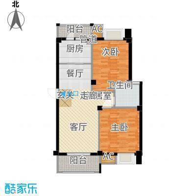 E2户型 两室两厅一卫 82.87平米