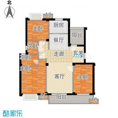 F户型 三室两厅两卫 121.5平米