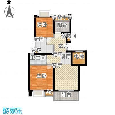 B2户型两室两厅一卫 88平面
