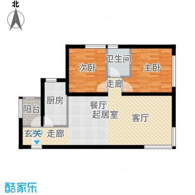 北纬40度景观公寓F1两室两厅一卫户型
