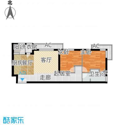 金泰先锋85.40㎡G户型标准层二室一厅一卫户型