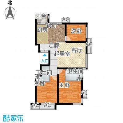 金泰先锋113.73㎡K户型标准层三室二厅二卫户型