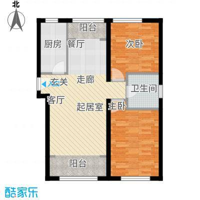 北纬40度景观公寓D1两室两厅一卫户型