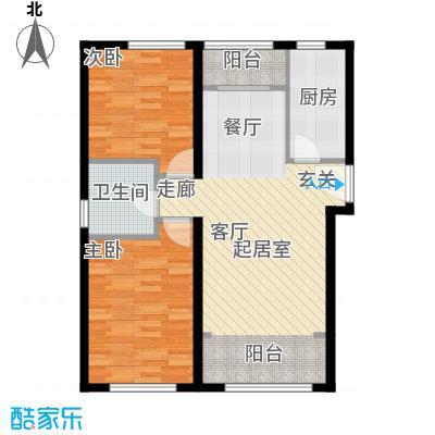 北纬40度景观公寓D3两室两厅一卫户型