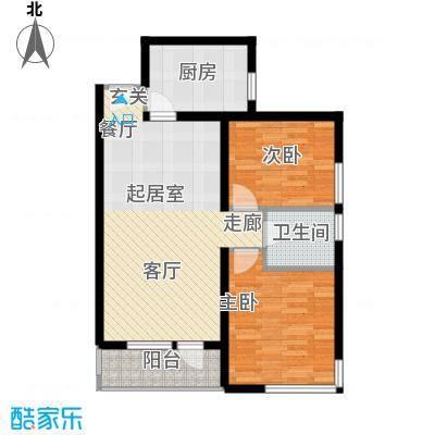 北纬40度景观公寓F2(G2)两室两厅一卫户型