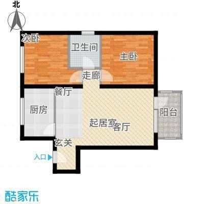 北纬40度景观公寓B1两室两厅一卫户型