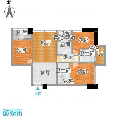 北京香颂D户型三室二厅二卫户型