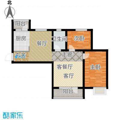安邦北湾一期86.00㎡两室两厅一卫户型