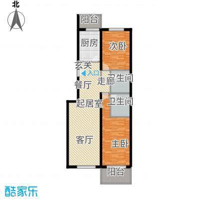 鑫兆丽园(亚北新区)113.00㎡二室一厅户型