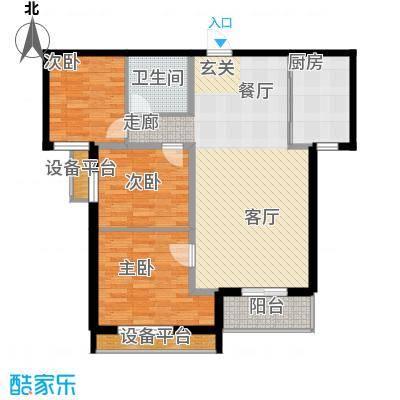 泰和福地水岸117.53㎡D2户型三室两厅一卫户型3室2厅1卫