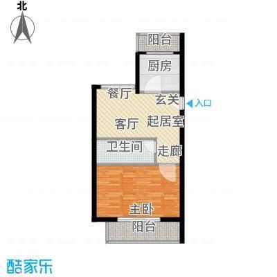 鑫兆丽园(亚北新区)59.15㎡1室1厅1卫1厨户型