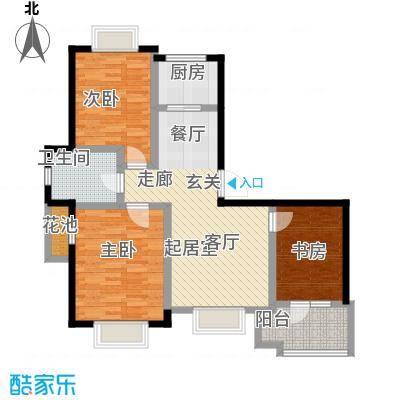 美树日记91.99㎡三室两厅一卫户型