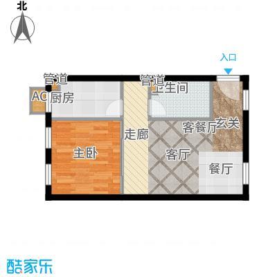 清枫华景园63.76㎡一室一厅一卫户型