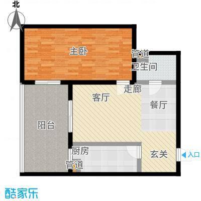 东风家园82.20㎡1室1厅1卫1厨户型