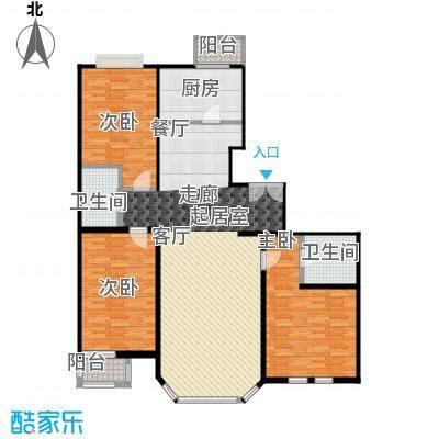 双花园小区137.00㎡3室2厅2卫1厨户型