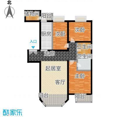 双花园小区131.00㎡3室2厅2卫1厨户型