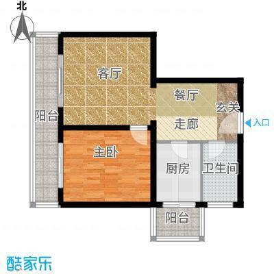 金祥嘉园74.92㎡1室2厅1卫户型