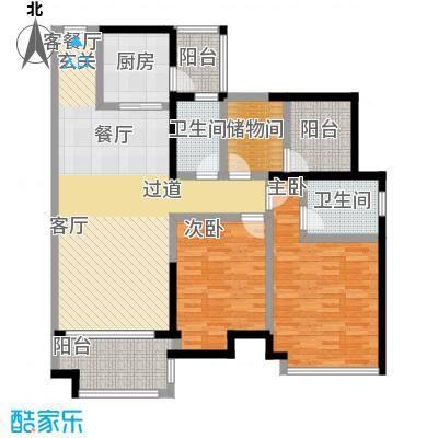 保利中环广场115.00㎡6座03单位户型2室1厅2卫1厨