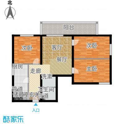 日月东华106.00㎡三室一厅一卫户型