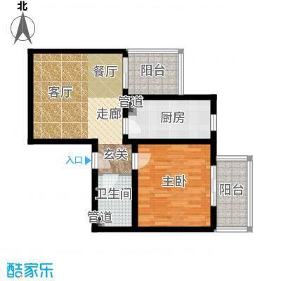 日月东华66.00㎡一室一厅一卫户型