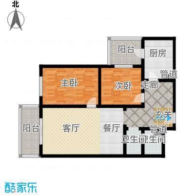 日月东华104.00㎡两室一厅一卫户型