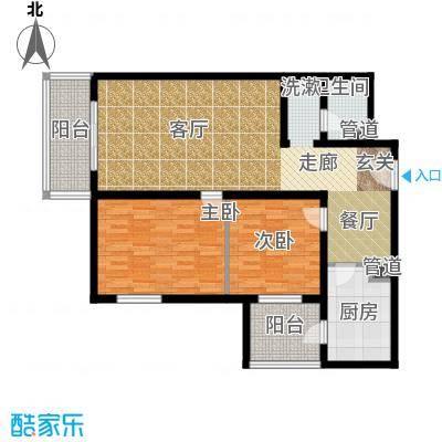 日月东华103.00㎡两室一厅一卫户型
