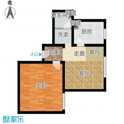 日月东华65.23㎡一居室户型