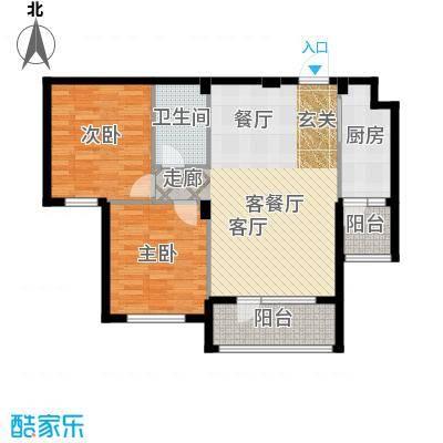 安邦北湾一期二室二厅一卫 约86.53㎡户型