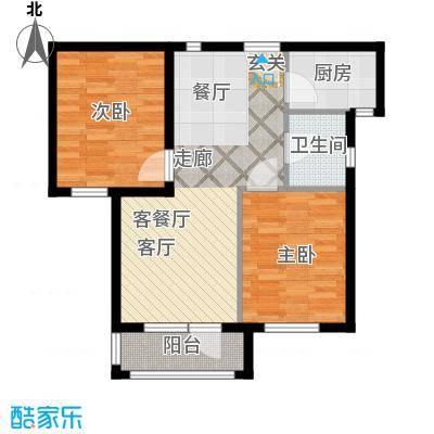 安邦北湾一期二室二厅一卫 约69㎡户型