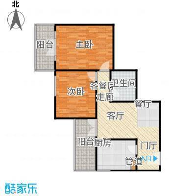 甘露晴苑88.09㎡二室一厅户型