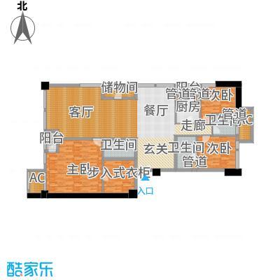 北京香颂F户型三室二厅三卫户型