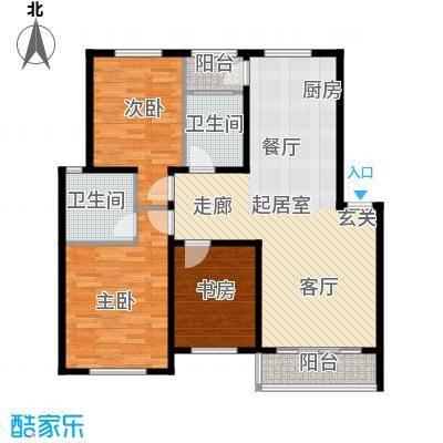 华茂依山君庭2号楼三室两厅两卫114.97平方米户型3室2厅2卫