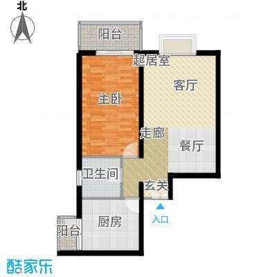 翠微生活-静源居69.67㎡\1室1厅1卫1厨户型
