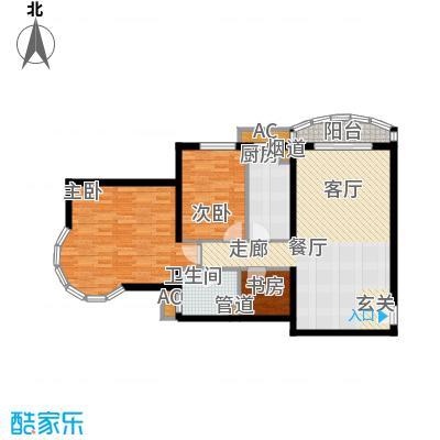 珠江绿洲108.47㎡N1户型两室两厅两卫户型