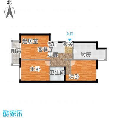 北京华侨城85.92㎡一期A1-8号楼FG户型2室1厅1卫1厨