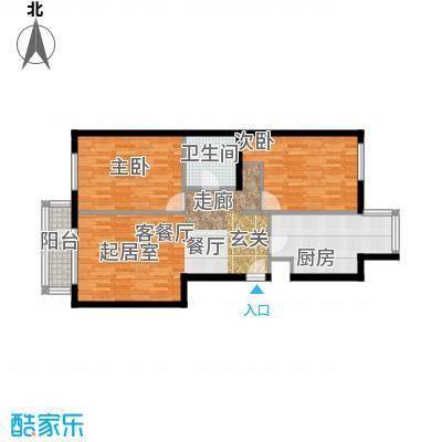北京华侨城83.00㎡A2-8号楼F户型2室1厅1卫1厨