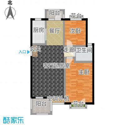 金石明珠86.00㎡两室两厅一卫户型