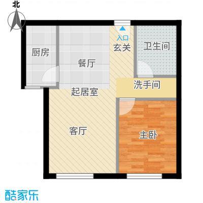 北纬40度景观公寓F3(G3)一室两厅一卫户型
