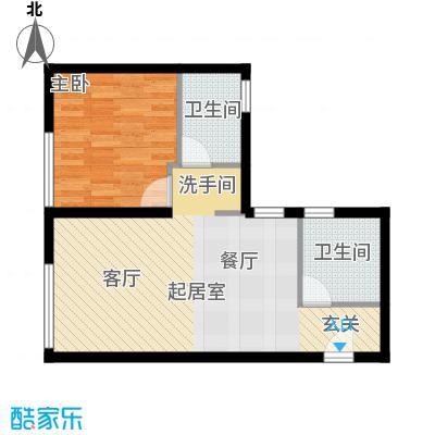 北纬40度景观公寓F6(G6)一室两厅一卫户型