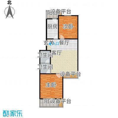 上东上层90.00㎡A反户型一室两厅一卫户型
