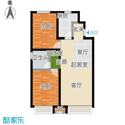 万科城90.00㎡万科城二期两室两厅一卫约90平米户型图户型2室2厅1卫
