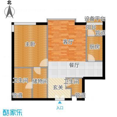 富力爱丁堡公馆104.11㎡a05户型一室两厅两卫户型